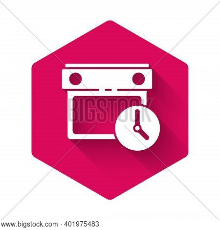 White Calendar And Clock Icon Isolated With Long Shadow. Schedule, Appointment, Organizer, Timesheet