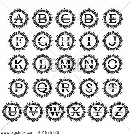 Monogram Of The Alphabet With A Wreath, Family Monogram, With A Cut  Out Pattern In The Form Of A Cr