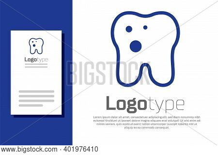 Blue Tooth With Caries Icon Isolated On White Background. Tooth Decay. Logo Design Template Element.