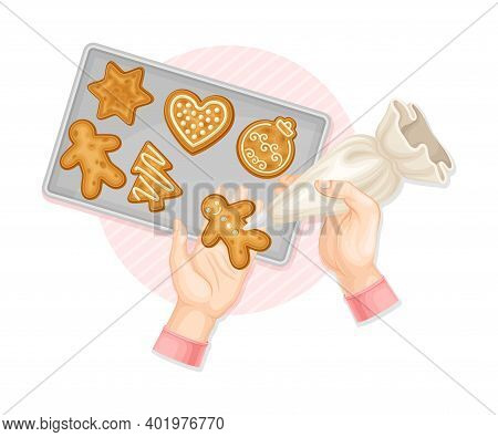 Human Hands Decorating Gingerbread Cookie With Sugar Glaze Above View Vector Illustration