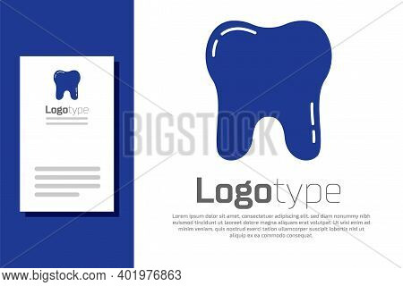 Blue Tooth Icon Isolated On White Background. Tooth Symbol For Dentistry Clinic Or Dentist Medical C