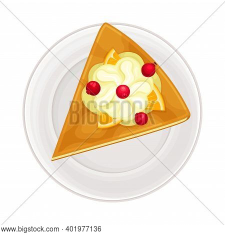 Piece Of Cake With Shortcrust And Whipped Cream As Sugary Dessert Rested On Plate Vector Illustratio