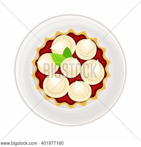 Fruit Creamy Tartlet With Jam Filling As Sugary Dessert Rested On Plate Vector Illustration