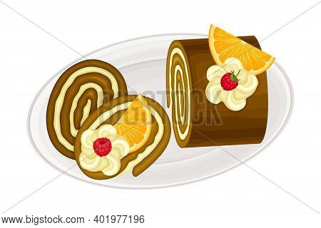 Chocolate Roulade Or Rolled Cake With Whipped Cream Sugary Dessert On Plate Vector Illustration