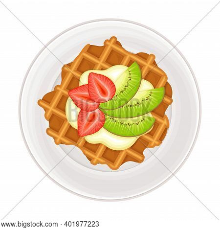Gaufre Or Waffle Served With Cream And Fruit On Plate As Sugary Dessert Vector Illustration