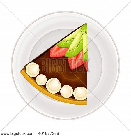 Piece Of Chocolate Cake With Shortcrust And Cream As Sugary Dessert Rested On Plate Vector Illustrat