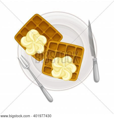 Gaufre Or Waffle Served With Cream On Plate As Sugary Dessert Vector Illustration