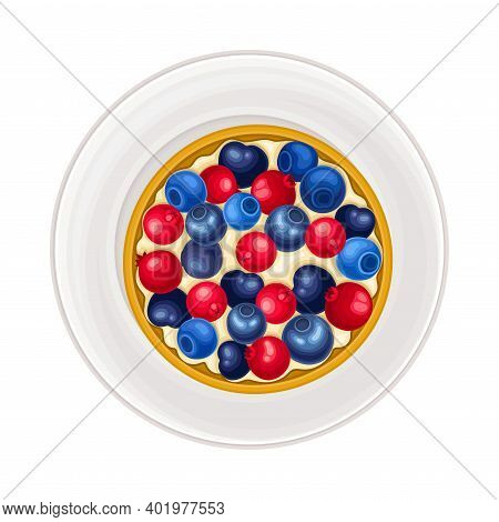 Fruit Creamy Tartlet With Berry Topping As Sugary Dessert Rested On Plate Vector Illustration