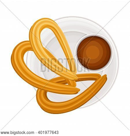 Churro Or Fried-dough Pastry With Chocolate As Sugary Dessert On Plate Vector Illustration