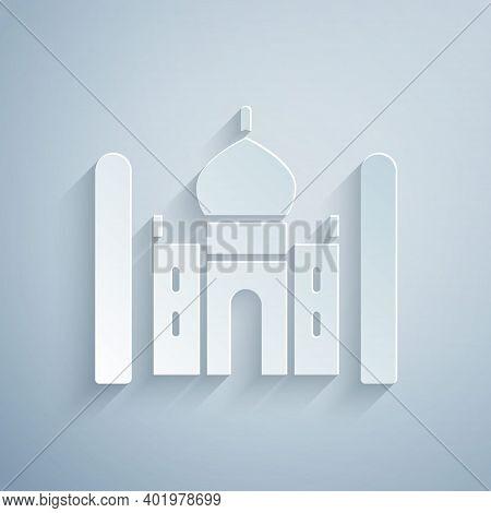 Paper Cut Taj Mahal Mausoleum In Agra, Indiaicon Isolated On Grey Background. Paper Art Style. Vecto