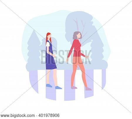 People Cross The Road At A Pedestrian Crossing, Vector Chart