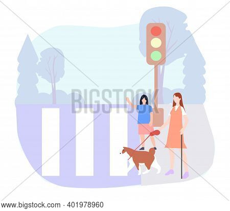 A Person With Disabilities Crosses The Road, Vector Graphics