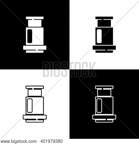 Set Aeropress Coffee Method Icon Isolated On Black And White Background. Device For Brewing Coffee.