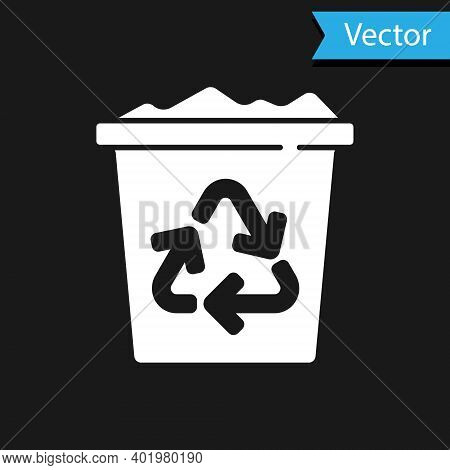 White Recycle Bin With Recycle Symbol Icon Isolated On Black Background. Trash Can Icon. Garbage Bin