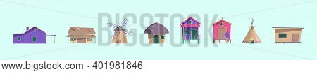 Set Of Buildings Cartoon Icon Design Template With Various Models. Modern Vector Illustration Isolat