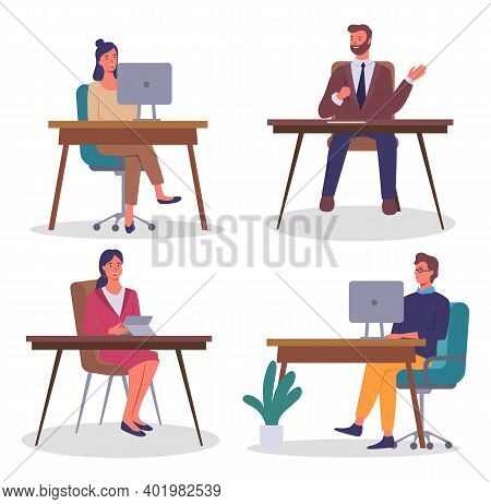 Set Of Flat Illustrations. People Working With Computers, Digital Tablet. Executive Businessman Hold