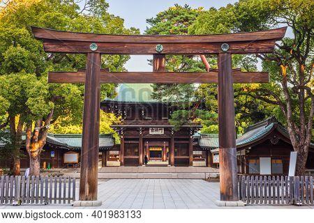 Meiji Shrine in Tokyo, Japan. (Gate reads in Japanese: