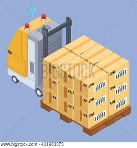Industrial Forklift With Wooden Pallet With Card Boxes, Postal Transportation, Loading Pallet, Logis