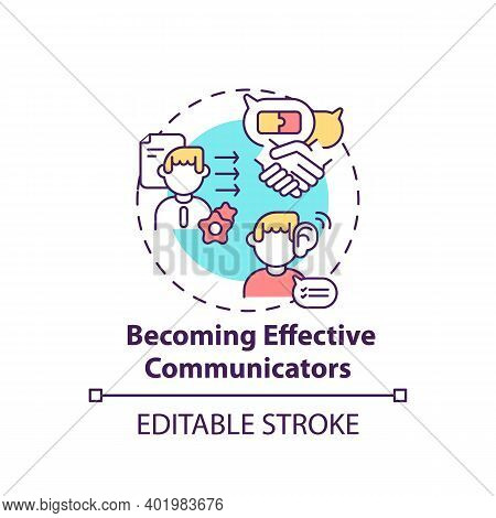 Becoming Effective Communicators Concept Icon. Media Literacy Elements Idea Thin Line Illustration.