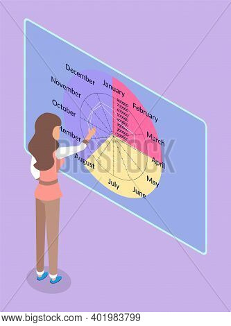 Woman Looking At Round Calendar With Months, Planning Date, Gesture Hand, Touching. Twelve Months Ca