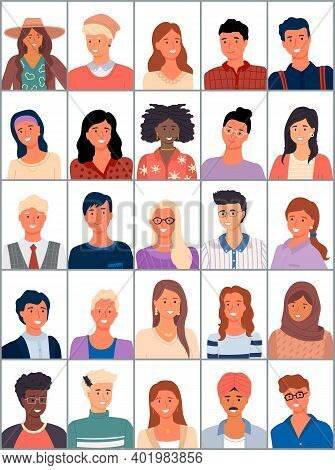 Set Of Avatars In Flat Design. Positive Avatars Of Young People Different Nationalities. Stylish Per