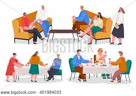 People Have Dinner, Party At Home. Family Meeting With Food And Drinks. Friends Spending Time Togeth