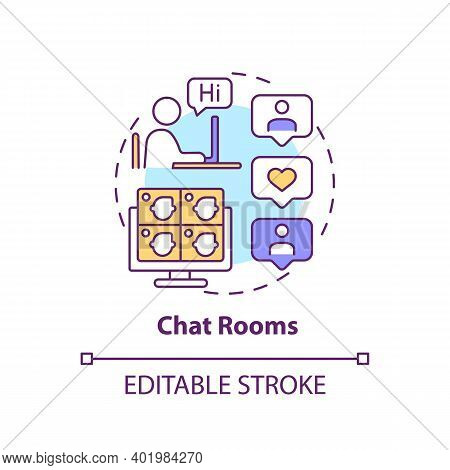 Chat Rooms Concept Icon. New Media Example Idea Thin Line Illustration. Synchronous Conferencing. Vi