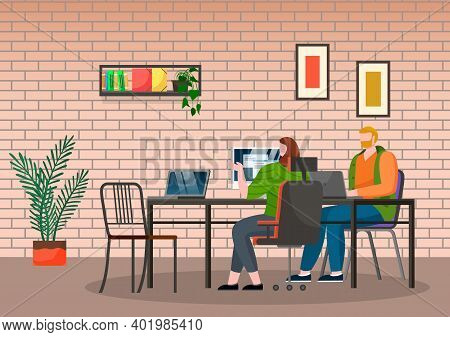 Teamwork, Office Life, Workers Man And Woman With Computer And Laptop Sitting Near Table And Working