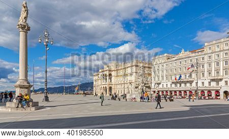 Trieste, Italy - March 7, 2020: Few People At Unity Square Sunny Winter Day In Trieste, Italy.