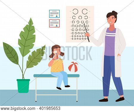 Woman Checks The Child S Eyesight. Table For Testing Visual Acuity In The Ophthalmologist S Office.