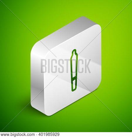 Isometric Line Marijuana Joint, Spliff Icon Isolated On Green Background. Cigarette With Drug, Marij