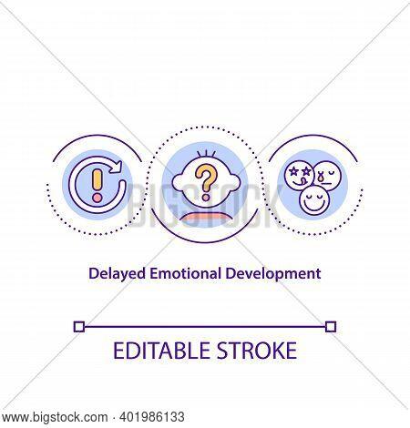 Delayed Emotional Development Concept Icon. Cognitive Problem. Intelligence Impairment. Child Safety