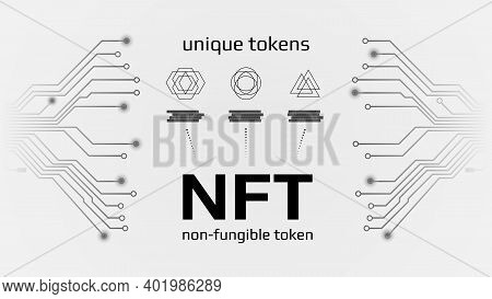 Nft Nonfungible Tokens Infographics With Pcb Tracks On White Background. Pay For Unique Collectibles