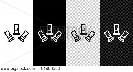 Set Line Cartridges Icon Isolated On Black And White Background. Shotgun Hunting Firearms Cartridge.