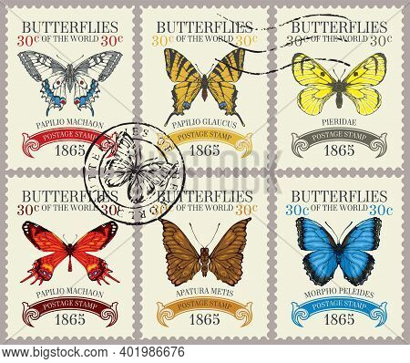 Set Of Old Postage Stamps With Various Bright Beautiful Butterflies And Their Names On A Light Backg