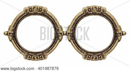 Double Goldendouble Golden Gothic Frame (diptych) For Paintings, Mirrors Or Photos Isolated On White