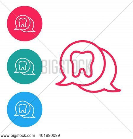 Red Line Tooth Icon Isolated On White Background. Tooth Symbol For Dentistry Clinic Or Dentist Medic