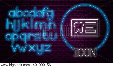 Glowing Neon Line Clipboard With Dental Card Or Patient Medical Records Icon Isolated On Brick Wall