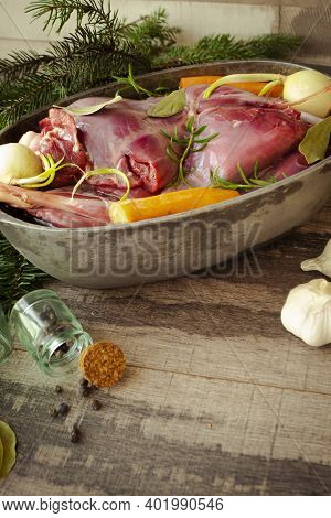 Venison Goulash Stew In Pot With Hare And Rabbit, Vertical Image
