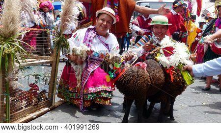 Cuenca, Ecuador - February 22, 2020: Annual Carnival Parade In Cuenca City. Indigenous Village Peopl