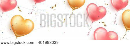Festive Horizontal Banner With Pink And Gold Heart-shaped Balloons, Confetti And Serpentine.card Hap