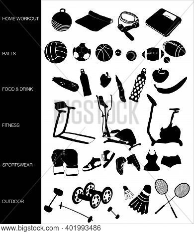 Sports Equipment Icon Set. Related Vector Black And White Signs.training Apparatus,gym,healthy Style