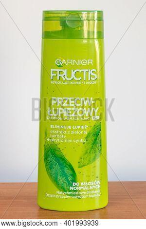 Pruszcz Gdanski, Poland - September 4, 2020: Garnier Fructis Anti Dandruff Shampoo.