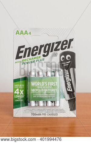 Pruszcz Gdanski, Poland - October 9, 2020: Energizer Accu Recharge Power Plus Rechargeable Aaa Batte