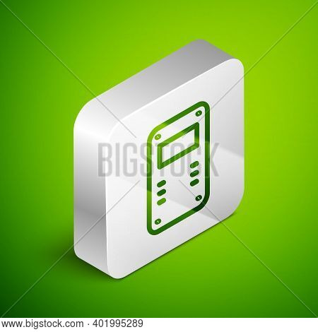 Isometric Line Police Assault Shield Icon Isolated On Green Background. Silver Square Button. Vector