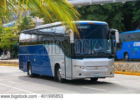 Acapulco, Mexico - May 28, 2017: Touristic Coach Bus Volvo 9700 In The City Street.