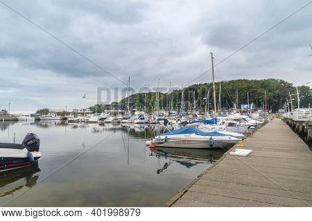 Puck, Poland - September 20, 2020: Sailboats In Puck Marina.