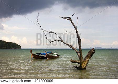 Boat On East Railay Bay Beach, Krabi Province, Thailand, Asia