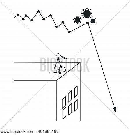 Covid-19 Economy Crisis Vector Concept: Businessman Using Telescope Looking Down To Check How Low Is