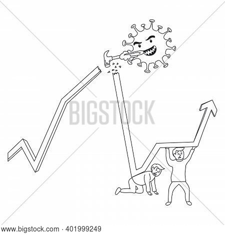 Coronavirus Economy Crisis Recovery Vector Concept: Group Of Businessmen Working Hard To Make The Ec